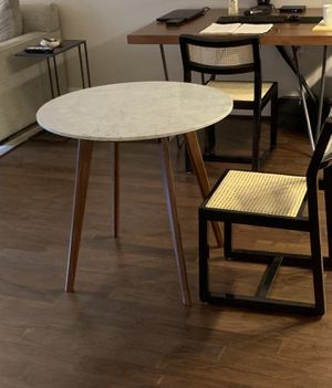 Round Marble Cafe Dining Table with Dark Walnut legs for Sale in Washington, DC