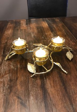 Gold tone 3 votive candle holders for Sale in San Antonio, TX