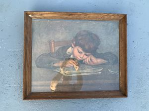"""JEAN RENOIR Vintage Swiss Framed """"Boy Writing"""" Drawing Painting Artwork (24""""x20"""") for Sale in Dade City, FL"""