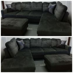 Brand New Espresso Microfiber Sectional With Storage Ottoman for Sale in Renton,  WA