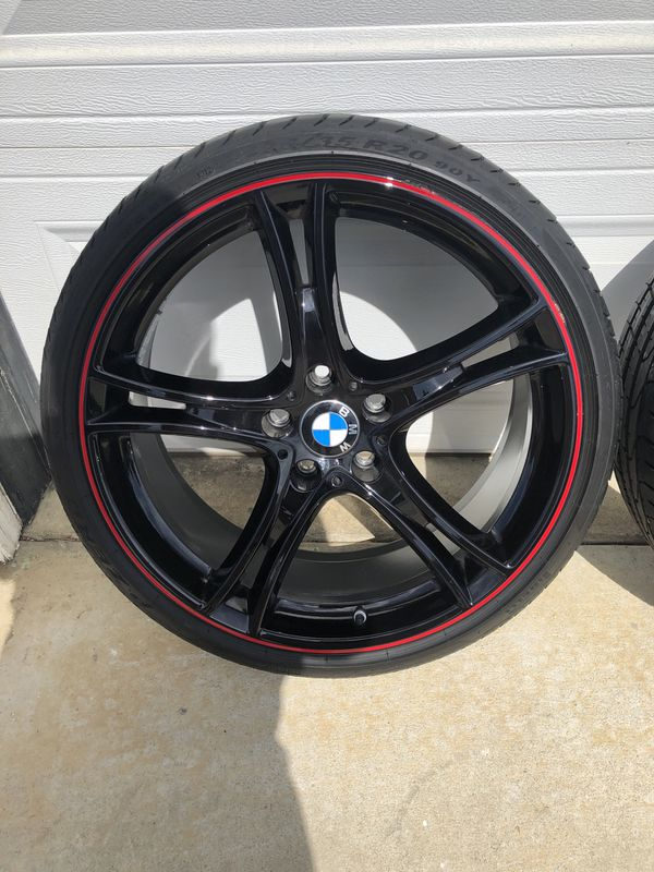 """PreOwned 20"""" OEM BMW DOUBLE SPOKE 361 BI-COLOR RED-BLACK F30 3 & 4 SERIES"""