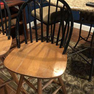 Bar Stools (3) - Wooden Swivel for Sale in Mount Laurel Township, NJ