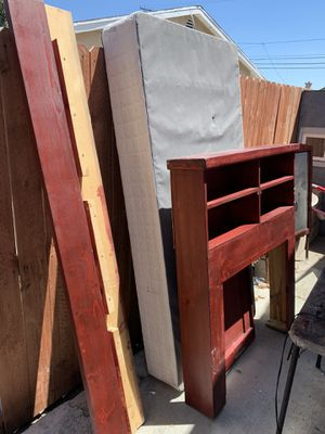 Cherry solid wood twin bed frame and box spring if need or want? for Sale in Irwindale, CA