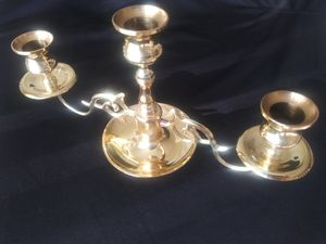 Brass triple candelabra from Baldwin America height 5 and 1/2 in with 10 and 1/2 in for Sale in Seminole, FL