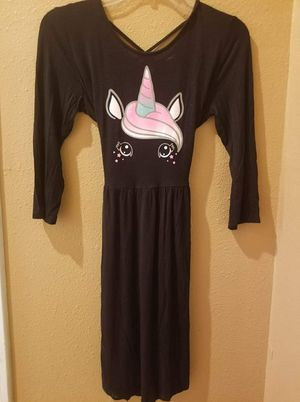 "5.00 Ship $4.66 Girls JUSTICE Size 18/20 Unicorn Dress NEW 3/4 Sleeved - Ties In Back Bust 34"" without Stretching - Length 3 for Sale in Tom Bean, TX"