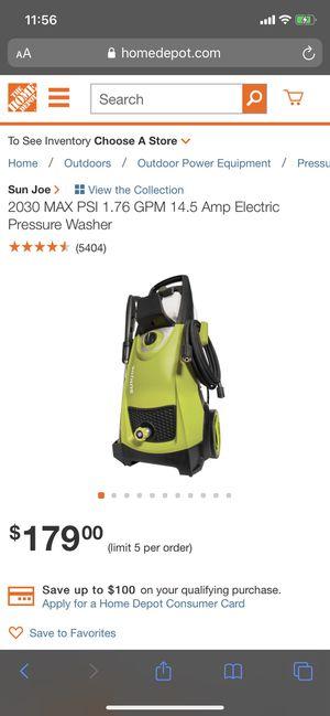 Sun Joe 2030 max psi pressure washer for Sale in Beaverton, OR