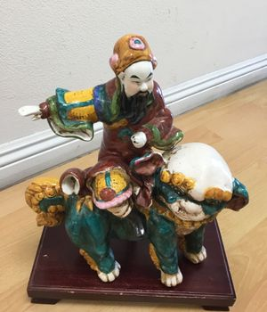 Chinese porcelain man wth original stand for Sale in Pasadena, CA