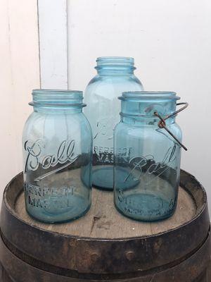 Antique Aqua Ball Glass Mason Jars Wedding Vases Vintage Rustic Centerpiece for Sale in Everett, WA