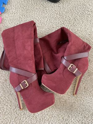 Red thigh high suede boots for Sale in Cutler Bay, FL