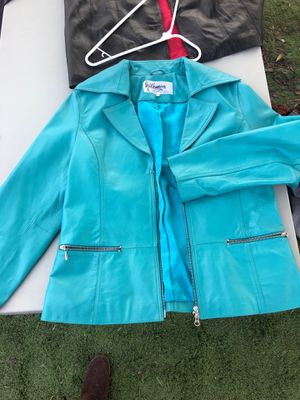 Leather Turquoise lx large women's beautiful blazer jacket for Sale in Chula Vista, CA
