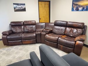 Brown Leather Recliner Sectional Couch with Cupholders and Compartments for Sale in Denver, CO