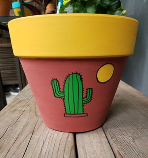 Handpainted pot with Aloe Vera plant, succulent pot for Sale in Garden Grove, CA