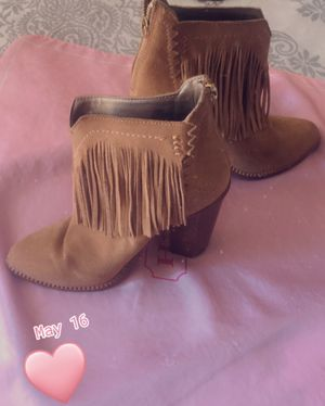 Cynthia Vincent Native Suede Fringe Booties for Sale in Jamul, CA