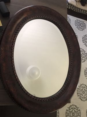 Target Home Cafe Bronze Dark Wood Frame Detail Oval Mirror for Sale in Altadena, CA