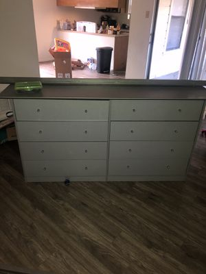 Queen size bed frame and headboard and dresser for Sale in Arlington, TX