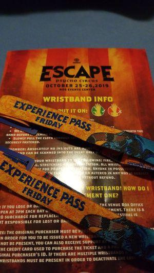 Escape Psycho Circus - FRIDAY wristbands for Sale in Escondido, CA