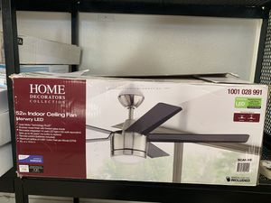 Home Decorators Collection Merwry 52 in. Integrated LED Indoor Brushed Nickel Ceiling Fan with Light Kit and Remote Control for Sale in Hesperia, CA