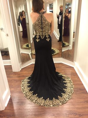 Elegant embroidered lace black and gold prom dress for Sale in Philadelphia, PA