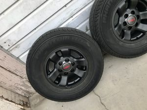 """4 Toyota TRD style Matt black OEM stock wheels 16"""" rims & tires 265/70R16 70% tread left balanced ready to go FIRM $575 Firm in Ontario 91762 for Sale in Chino, CA"""
