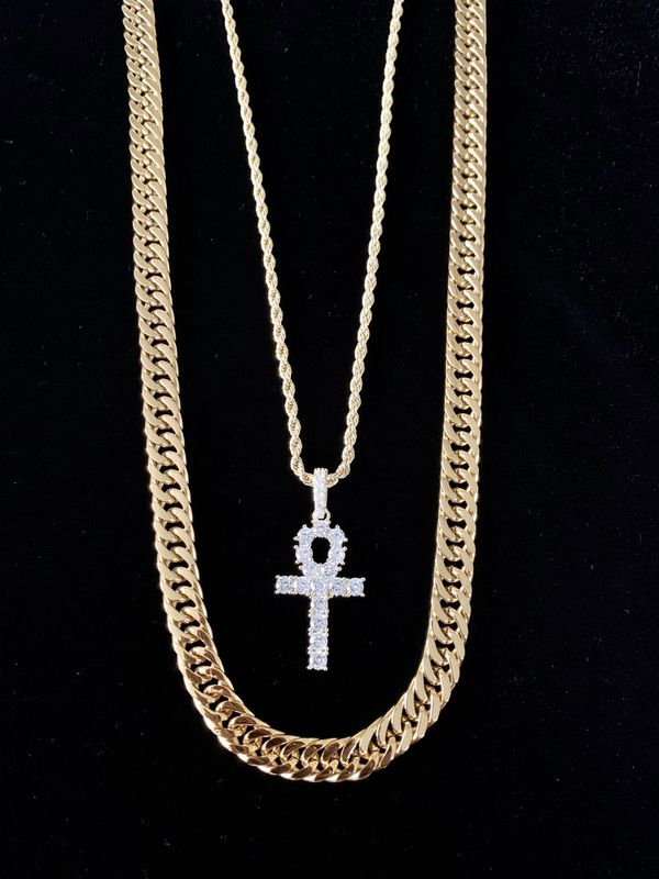 ⭐️ HAPPY VALENTINES DAY PERFECT GIFT!! ⭐️ ANKH FULL DIAMONDS CZ 18K GOLD CHAIN MADE IN ITALY