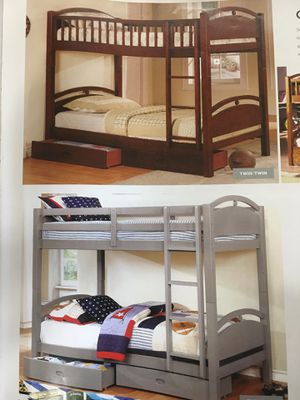 Twin twin bunk bed no mattress solid wood new for Sale in Long Beach, CA