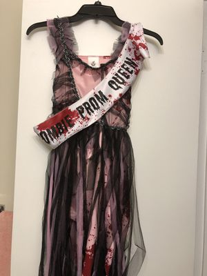 Zombie Prom Queen Costume with crown, corsage, and lace gloves, size Medium for Sale in Washington, DC