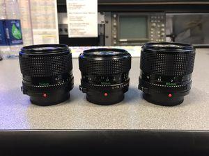 Canon FD Prime Lenses 24mm 50mm 85m for Sale in Houston, TX