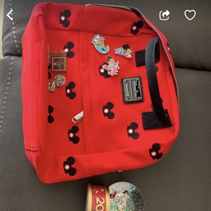 Disney Mickey loungefly Backpack With Snowglobe AND Pins! for Sale in Santa Ana, CA