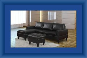 Black sectional with ottoman for Sale in Fairfax, VA