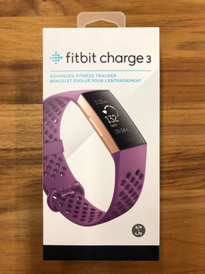Fitbit Charge 3 Fitness Activity Tracker, Rose Gold/Berry, One Size (S&L Band Included) for Sale in Miami, FL