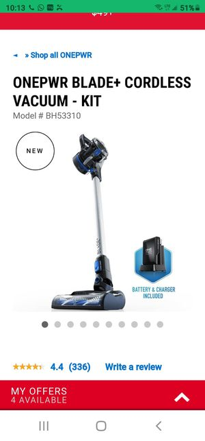 ONEPWR BLADE+ CORDLESS VACUUM - KIT Hoover073502046005 Model # BH53310 for Sale in Dunellen, NJ