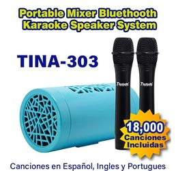 TINA 303 | The Smallest Karaoke Bluetooth Speaker IN THE WORLD with 2 Wireless Microphone set, base to be use w/Karaoke APP's in cell phones and TV's. for Sale in Boynton Beach,  FL