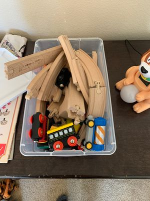 Wooden train set with extra trains for Sale in Vancouver, WA