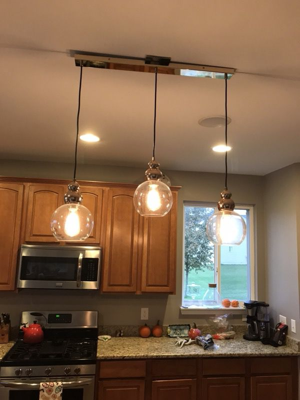 3 pendant lighting fixture, unique, gold and very pretty