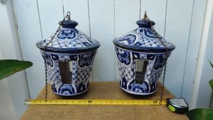 Large clay ceramic Lanterns set of 2 lantern for one price. Mexico red clay with white and blue glaze for Sale in Orange, CA