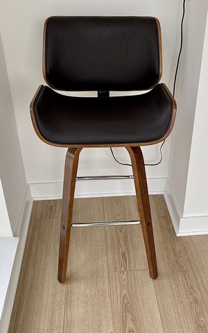 Bar and Counter Swivel Stool — Solid Wood/Leather - New (open box) for Sale in Washington, DC