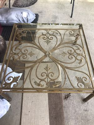 Gorgeous antique wrought iron table glass top gold tone rustic home decor vintage coffee table indoor outdoor furniture for Sale in Springfield, VA