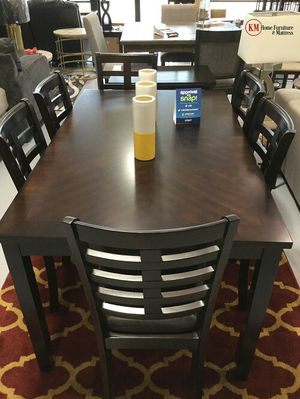 7PCS DINING TABLE SET TABLE AND 6 CHAIRS WOODEN ESPRESSO for Sale in Houston, TX
