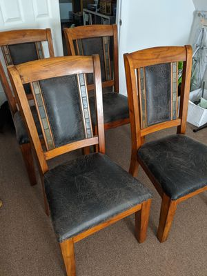 Leather & Wooden Chairs, set of 4 for Sale in Chicago, IL