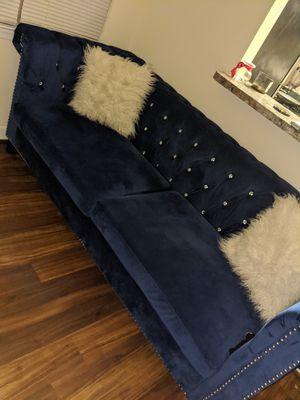 Blue velvet couch white two white fuzzy pillows for Sale in Washington, DC