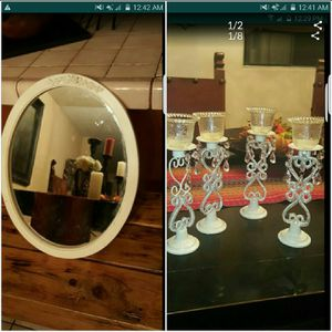 Oval mirror and candle holders for Sale in Norwalk, CA