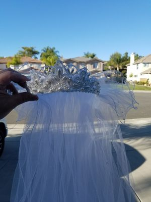 Beaded wedding dress and vail for Sale in Temecula, CA