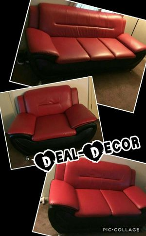 Red/Black 3 Piece Sofa Set for Sale in Atlanta, GA