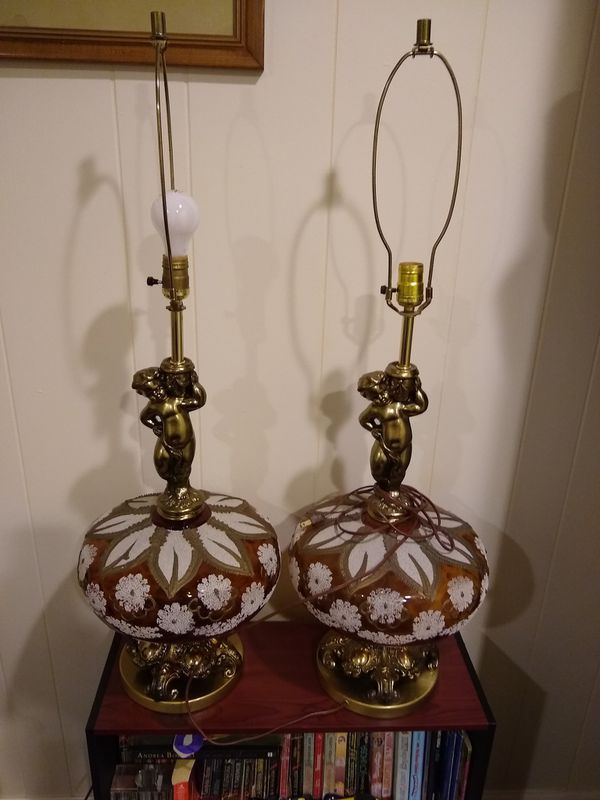 High quality large Brass and Vintage Glass lamp 2 for $90