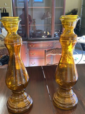 Tall Amber Glass Candle Holders (Pair) for Sale in Waxhaw, NC