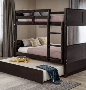 Full Top and Bottom Bunk Bed with Twin Size Trundle including Ladder for Sale in Boca Raton, FL