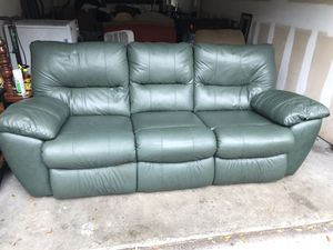 Dark green Plush recliner LEATHER SOFA in good condition for Sale in Tampa, FL