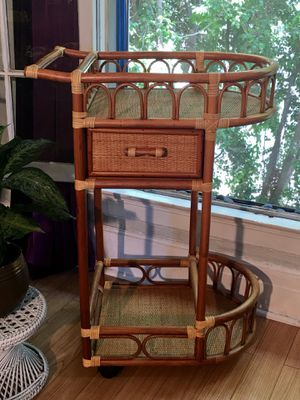 Bamboo Rattan Wicker Bar Cart Boho Chic Home Decor Bentwood Plant Shelves Rolling Bar Cart Mint Condition - Pick Up LA or OC for Sale in Los Angeles, CA