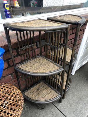 """Small rattan corner shelf plant stand 16 x 12 x 32"""" for Sale in La Mesa, CA"""