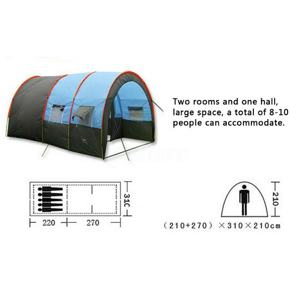 NEW Outdoor Large Tunnel Tent Waterproof Camping Hiking Double Layer Adventure